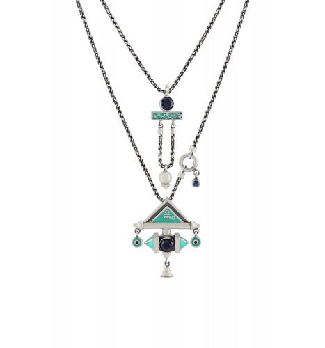 Turquoise Enamelled Double Layer Shiva Necklace