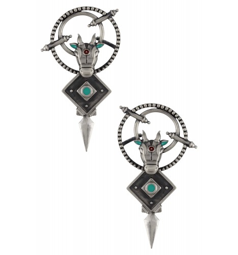 Turquoise Enamelled Nandi Rawa Front Back Earrings