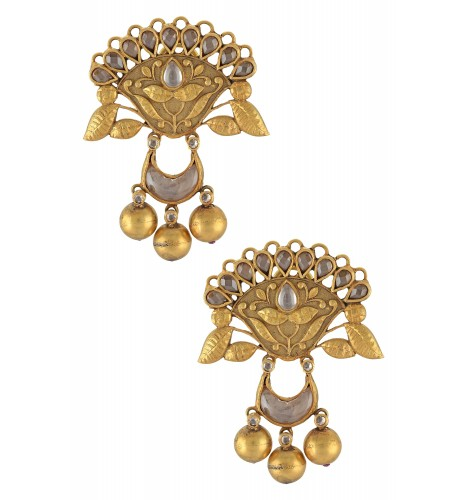 Silver Gold Plated Lotus Moon Ball Drops Glass Earrings