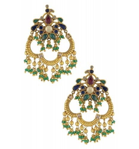 Silver Gold Plated Peacock Earrings