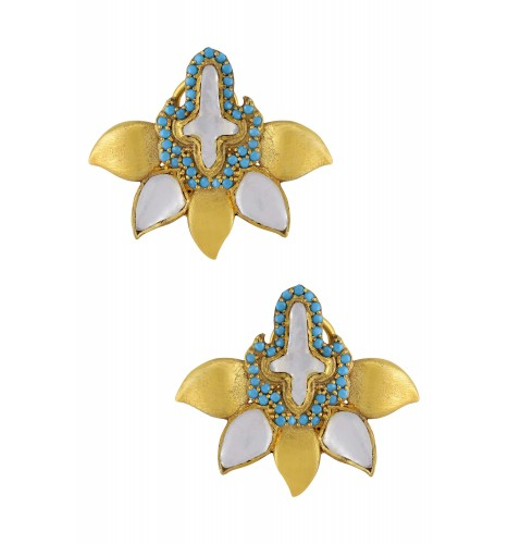 Silver Gold Plated Blue White Glass Leafy Ear Studs