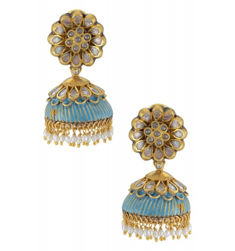 Silver Gold Plated Floral Blue Enamel Pearl Drop Jhumka