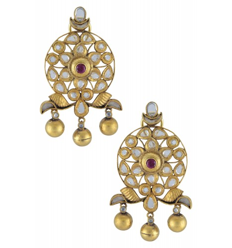 Silver Gold Plated Floral Moon Bead Drops Glass Ear Studs