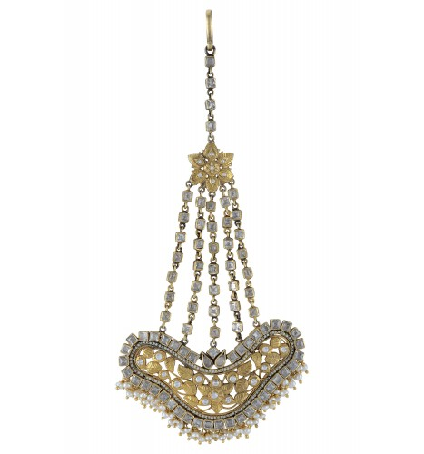 Silver Gold Plated Leafy White Glass Pearl Drops Pasha