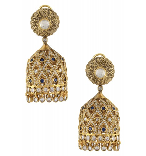 Silver Gold Plated Glass Studded Jhumka Earrings