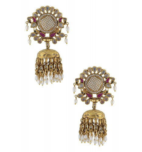 Silver Gold Plated Peacock Pear Glass Pearl Drop Earrings
