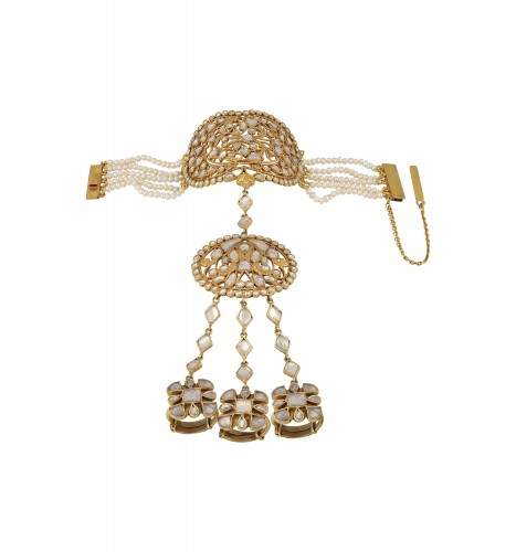 Silver Gold Plated Peacock Floral White Glass Hathphool