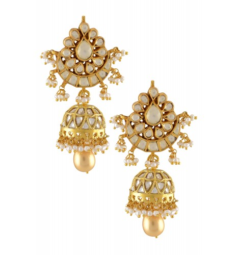 Silver Gold Plated Lotus Chaand Crystal Pearl Drop Jhumki