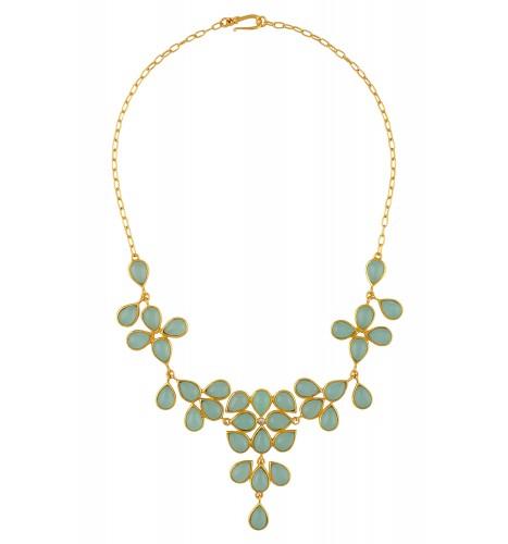 Aqua Pear Floral Necklace