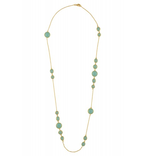 Multi Shaped Aqua Glass Chain Necklace