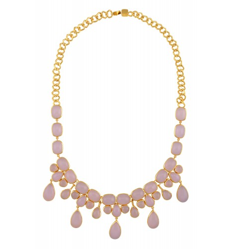 Gold Plated Multi Shaped Pink Glass Necklace