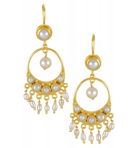 Silver Gold Plated Pearl Round Droplet Hook Earrings