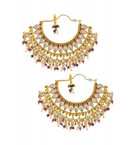 Silver Gold Plated Enamelled Multi Crystal Moon Glass Drop Earrings