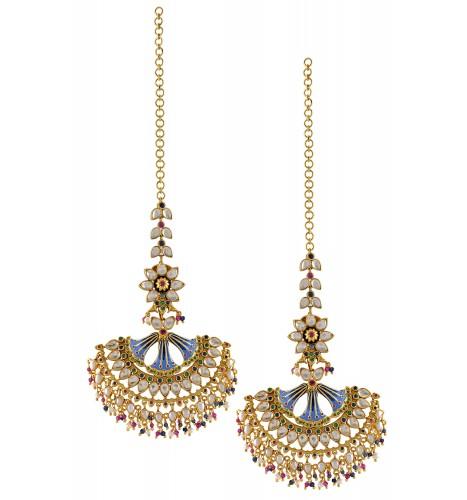 Silver Gold Plated Enamelled Fan Multi Crystal Floral Earrings