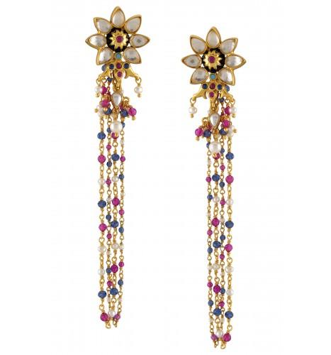 Silver Gold Plated Flower Multi Glass Pearl Drop Earrings