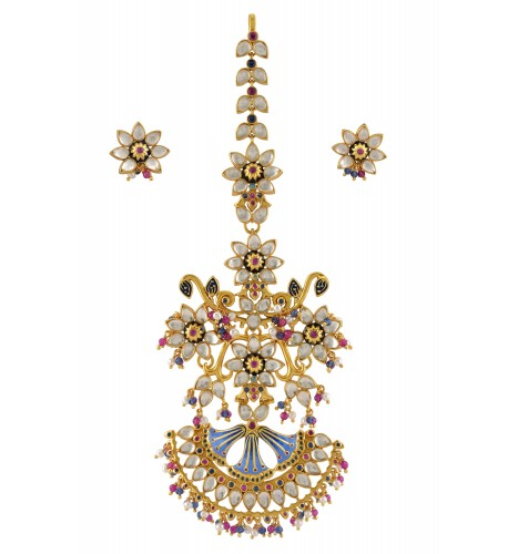 Silver Gold Plated Enamelled Floral Crystal Pearl Maangtika With Clips