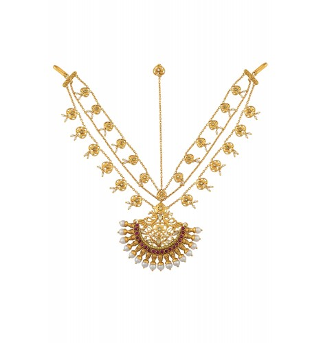 Silver Gold Plated Peacock Lotus Mathapatti