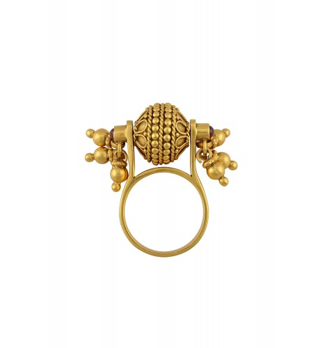 Silver Gold Plated Floral Rawa Ghungroo Spinning Ring