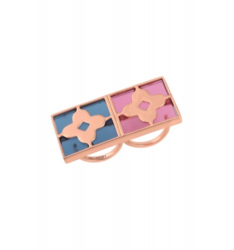Silver Rose Gold Plated Midnight Square Floral Ring
