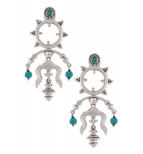 Silver Oxidised Turquoise Rawa Tribal Drop Earrings