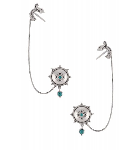 Silver Oxidised Floral Turquoise Drop Cuff Earrings