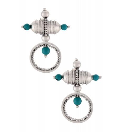 Silver Oxidised Turquoise Taveez Ear Studs