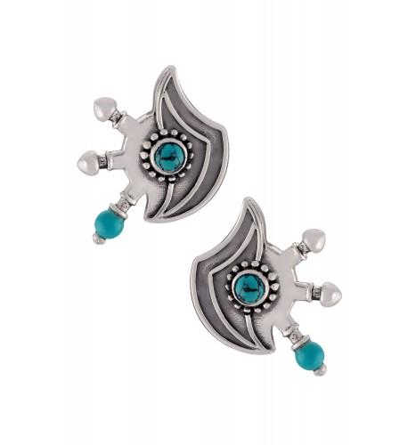 Silver Oxidised Turquoise Tibetan Motif Ear Studs