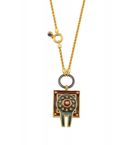 Enamelled Dual Sided Shivling Necklace