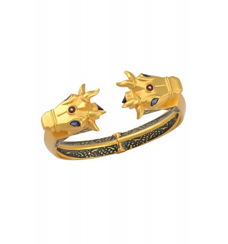 Gold Plated Double Nandi Enamel Bangle