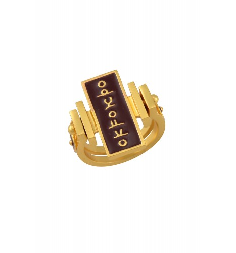 Enamelled Mantra Double Sided Ring