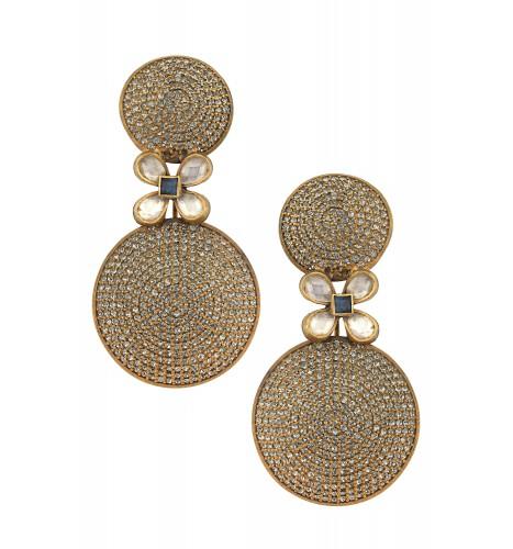 Swarovski Flower Dome Flashy Silver Earrings