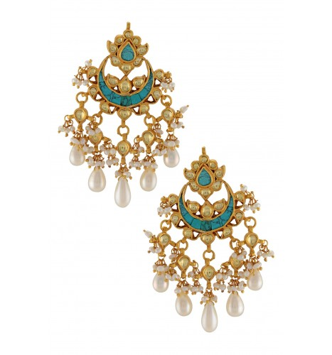 Silver Gold Plated Turquoise Floral Crescent Moon Earrings