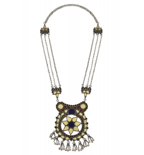 Silver Oxidised Mirror Studded Bead Hanging Floral Necklace