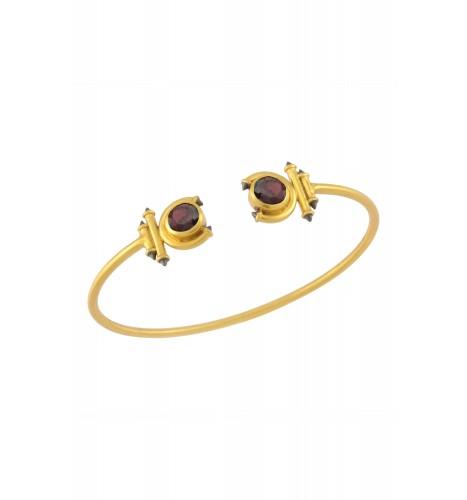 Silver Gold Plated Garnet Round Curved Taveez Cuff