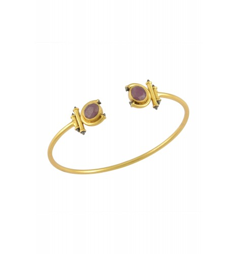 Silver Gold Plated Ruby Round Curved Taveez Cuff