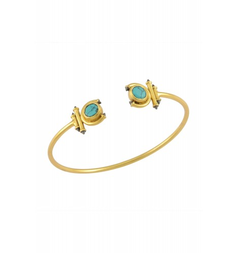 Silver Gold Plated Turquoise Round Curved Taveez Cuff