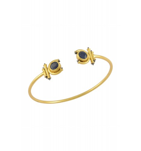 Silver Gold Plated Sapphire Round Curved Taveez Cuff