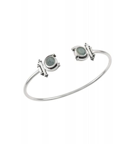 Silver Aquamarine Round Curved Taveez Cuff