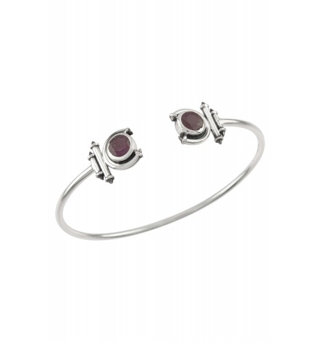 Silver Ruby Round Curved Taveez Cuff