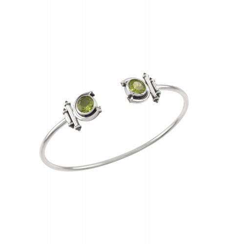 Silver Peridot Round Curved Taveez Cuff