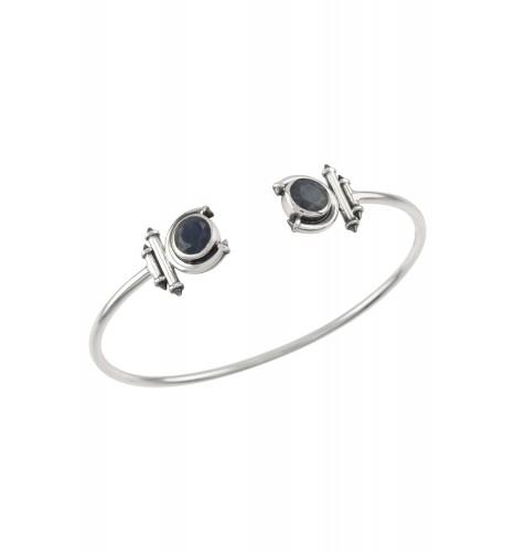 Silver Sapphire Round Curved Taveez Cuff