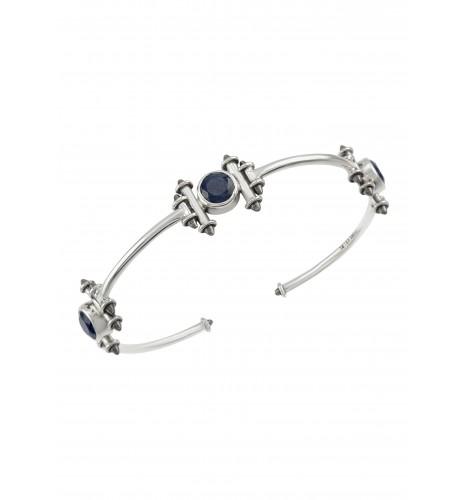 Silver Blue Sapphire Round Taveez Cuff