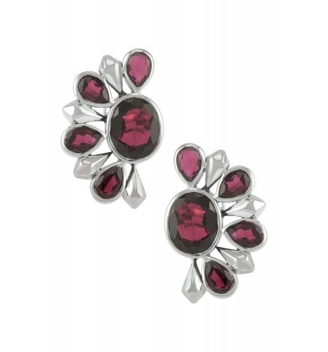Silver Garnet Floral Ear Studs