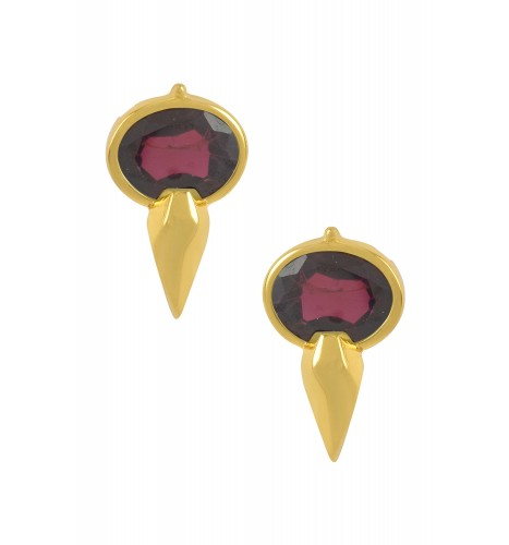 Silver Gold Plated Oval Garnet Ear Studs
