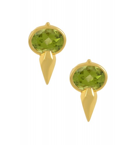 Silver Gold Plated Oval Peridot Ear Studs
