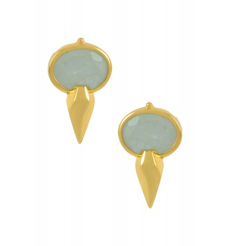 Silver Gold Plated Oval Aquamarine Ear Studs