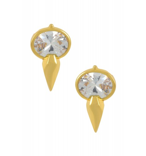 Silver Gold Plated Oval Cubic Zirconia Ear Studs