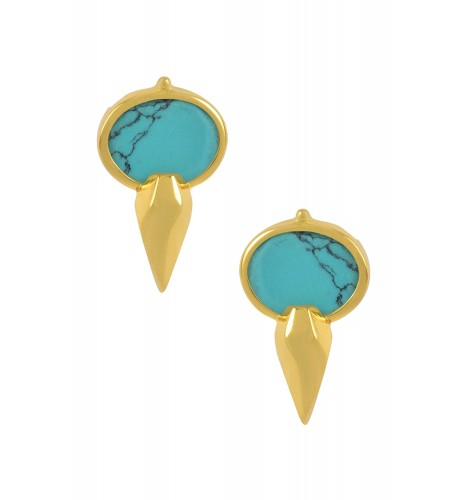 Silver Gold Plated Oval Turquoise Ear Studs