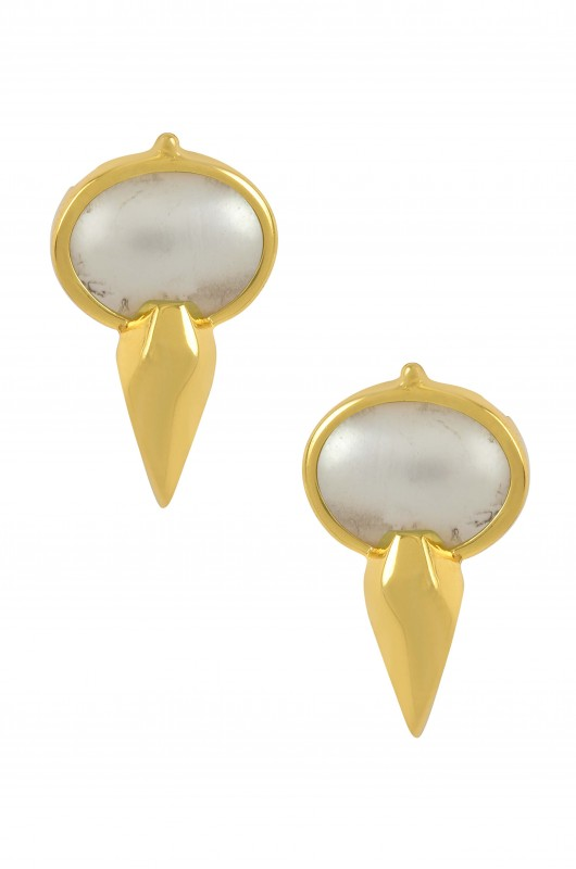 Silver Gold Plated Oval Pearl Ear Studs