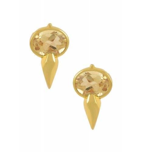 Silver Gold Plated Oval Citrine Ear Studs